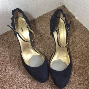 J.Crew navy ruffled suede ankle strap heels, sz 10
